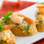These shrimp and cheese canapes are a keeper; uber delicious and so easy to make. The shrimp spread on these tea sandwiches is perfect.