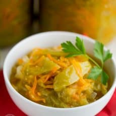 Green tomatoes in this canned green tomato salad are marinated and made into a salad with carrot and onion. They taste tangy and sweet. Give them a try.
