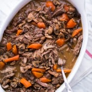 This Beef and Mushroom Pot Roast is so easy to cook and makes a great party dish, you can prepare it ahead of time. The meat is super tender when it's done.