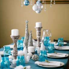 Blue and silver Christmas party dinner table decorations