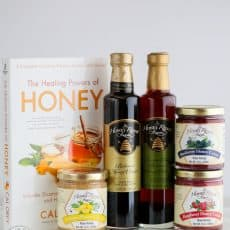 A close up of Honey Ridge Farms products on the table