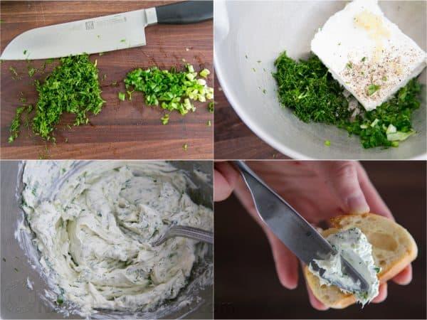 Four photos of a mixture for kielbasa and cucumber crostini, canapés