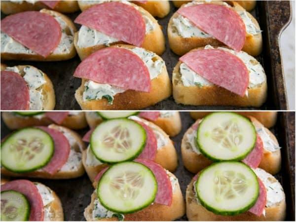 Two photos of close up kielbasa and cucumber crostini, canapés