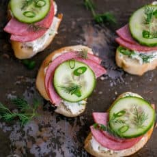These Kielbasa and Cucumber Crostini just hit the spot. Simple and inexpensive to prepare and the recipe can easily be doubled for a hungrier crowd.