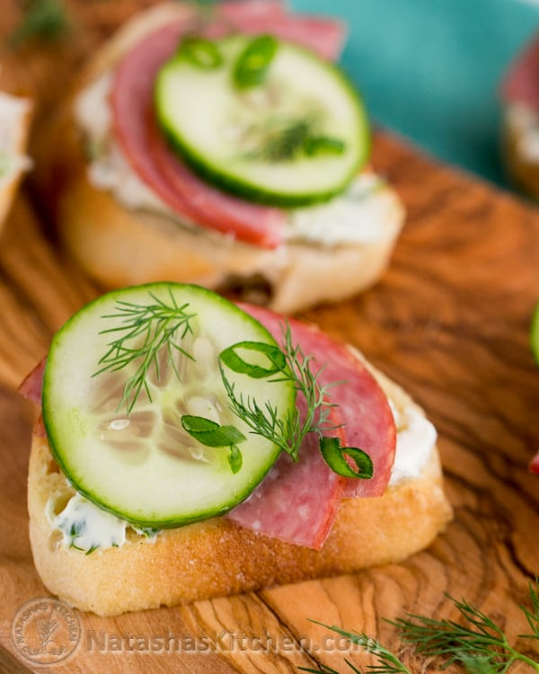 Kielbasa and cucumber crostini canap roundup for Canape garnishes