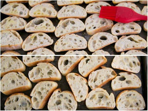 Two photos of bread for crostini, canapés, baguette