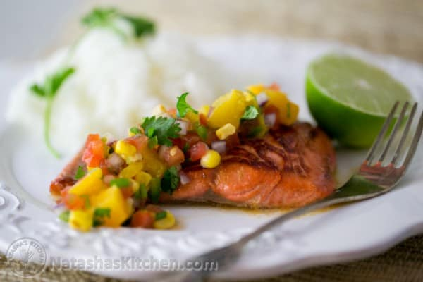 Teriyaki Glazed Salmon with Peach Salsa-18