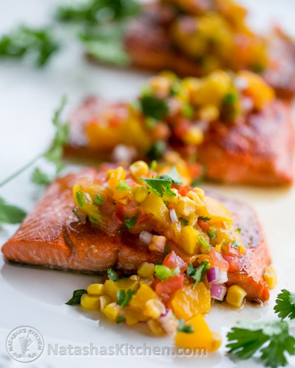Teriyaki Glazed Salmon with Peach Salsa_