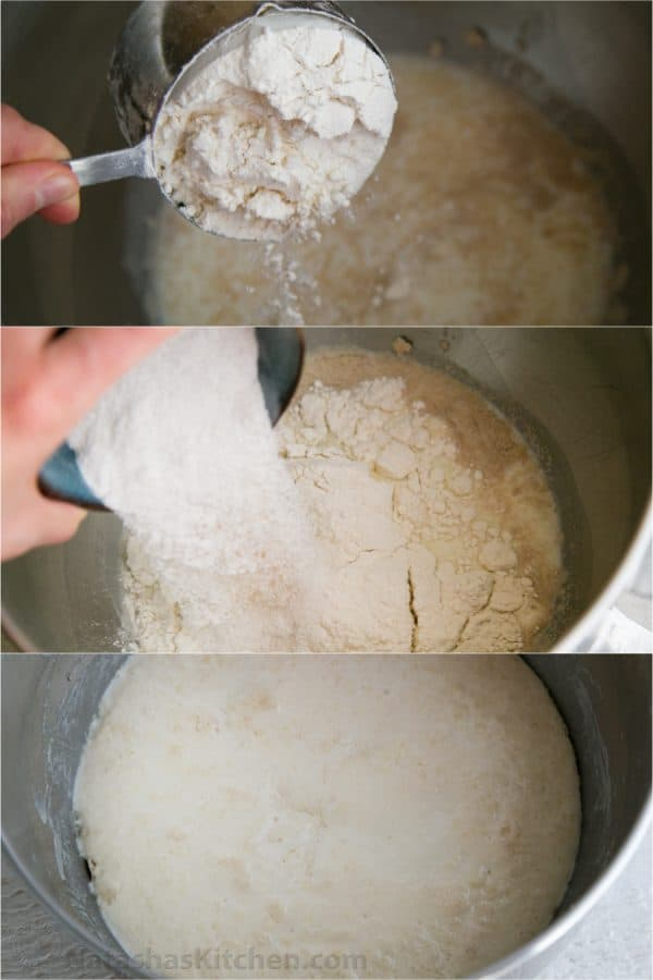 Three photos of bowls with dough for baked piroshki being mixed
