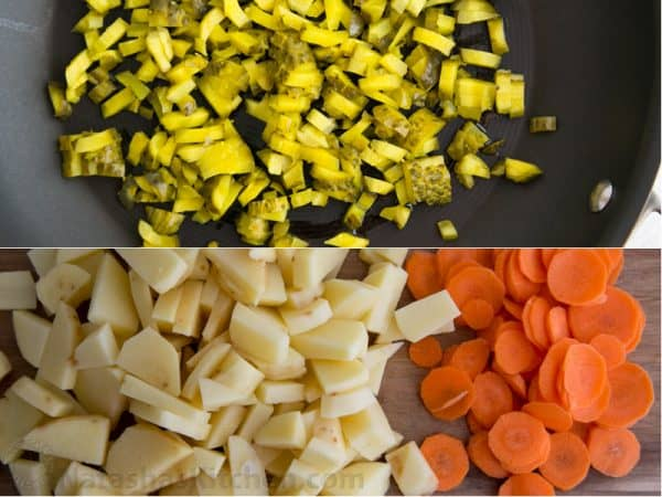 Two photos one of diced pickles and one of diced carrots and potatoes