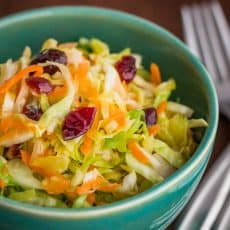 A close up of a green bowl of cabbage, carrot and cranberry salad