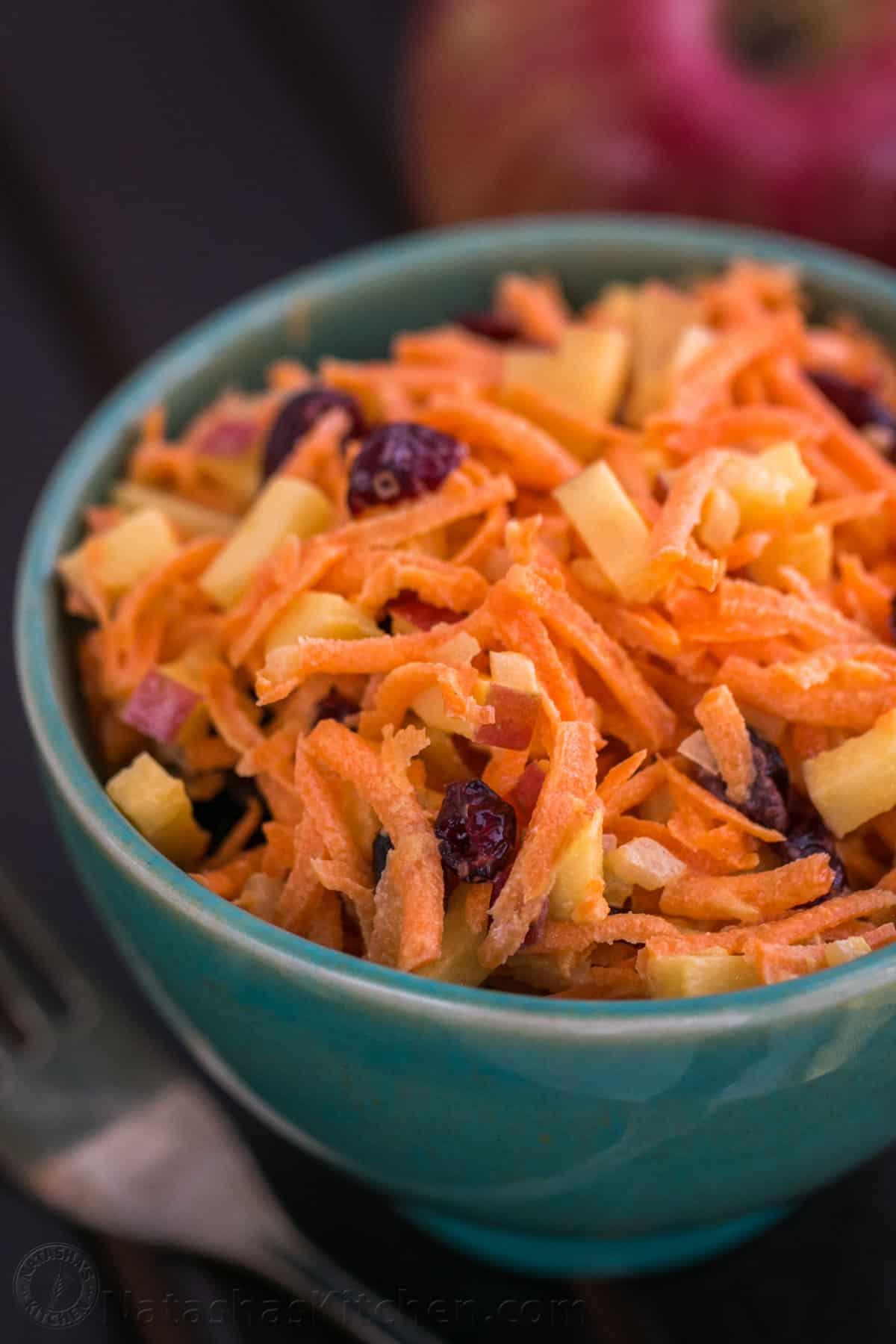 Quick Carrot Amp Apple Salad Recipe Natashaskitchen Com