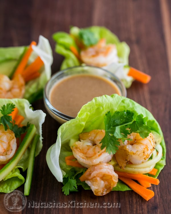 These shrimp lettuce wraps make for one delicious and super impressive meal. I REALLY want you to try the peanut dipping sauce.