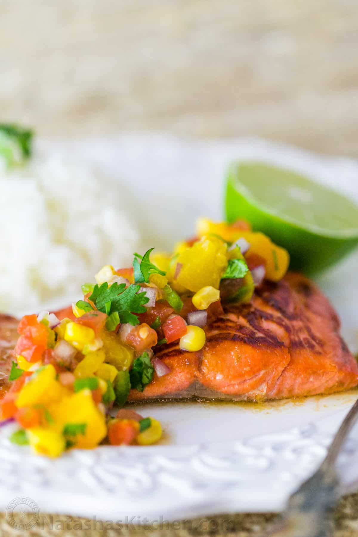 This Teriyaki Glazed Salmon With Peach Salsa Is A Great Recipe To Kick Off  Your Cooking This Year It's Light, Super Healthy And Easy To Make When You  Have