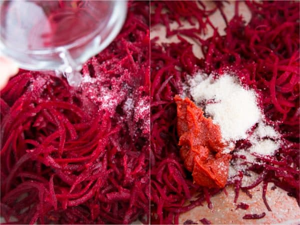 Two photos of grated beet being seasoned for borscht
