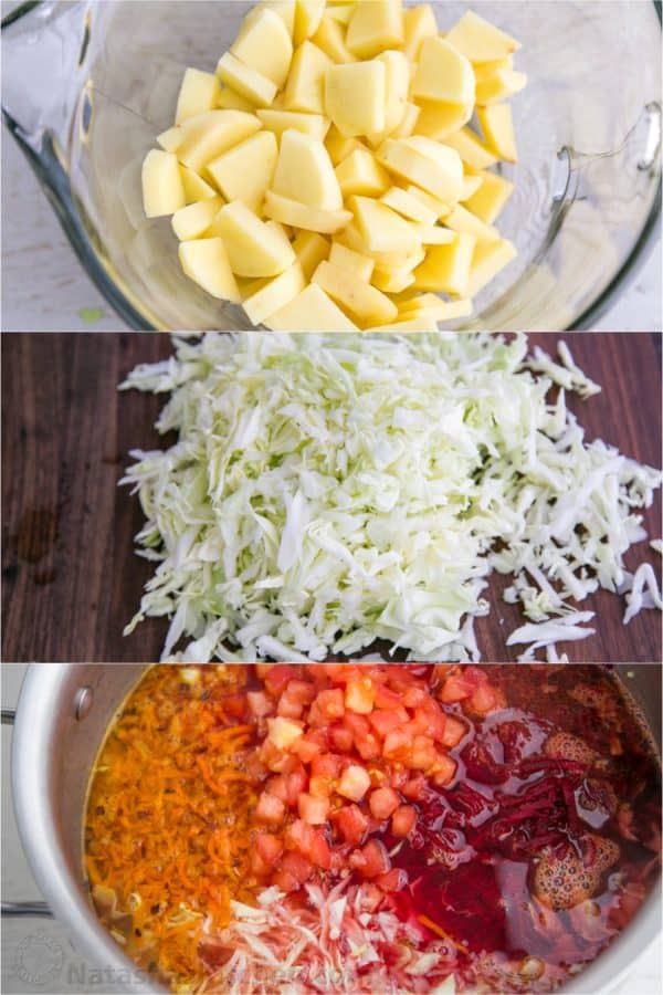Three photos one of diced potatoes, one of grated cabbage and one of a pot of borscht