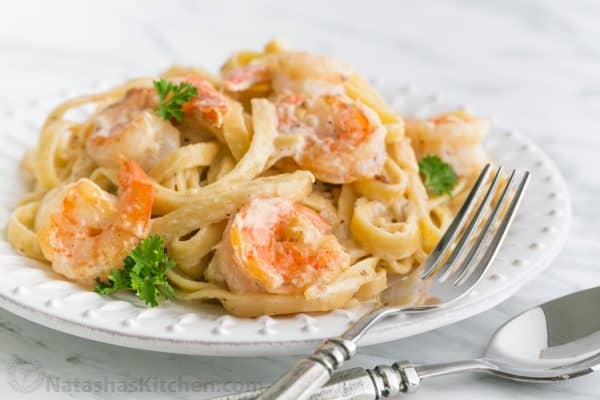 Add The Cooked Shrimp And Drained Un Rinsed Pasta Garnish With Parsley ...