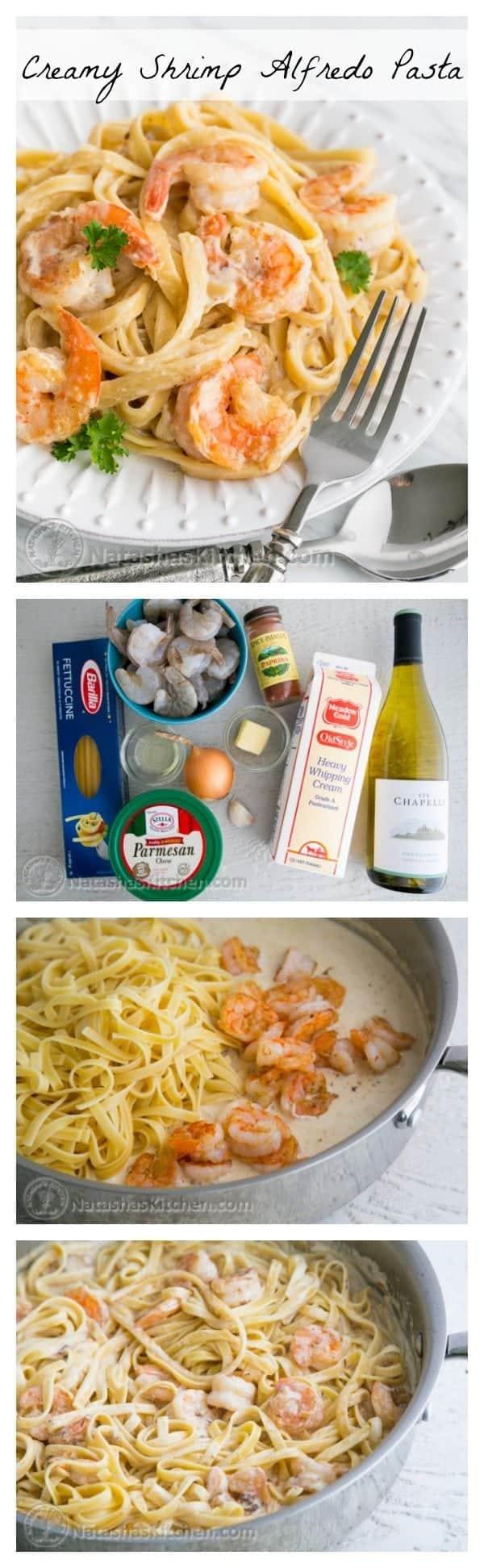 Creamy shrimp alfredo fettuccine pasta recipe natasha 39 s for Natashas kitchen