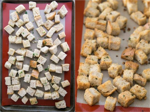 Two photos of baking pans one with uncooked croutons and one with cooked