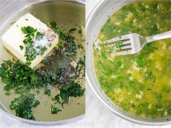 Two photos of bowls with butter, garlic and herbs being mixed
