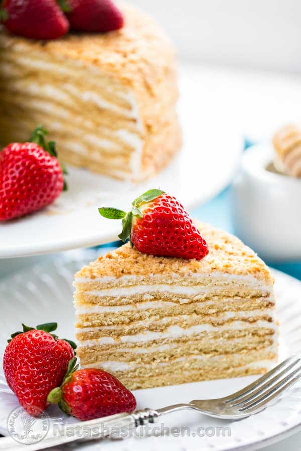Master this amazingly soft Honey Cake with simple frosting (step-by-step photo tutorial!) @NatashasKitchen