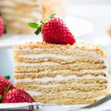 This honey cake is so soft and fantastic. The honey baked into the cake layers pairs perfectly with the simple sour cream frosting. It will WOW your crowd!