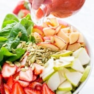This Fruit and Spinach Salad is easy, light and delicious. with tasty strawberry vinaigrette to go with it. This salad is loved by every palate; YUMM!