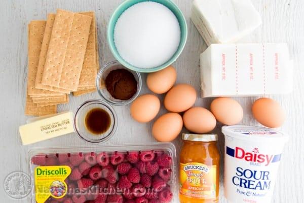 Chocolate Raspberry Apricot Cheesecake with Chocolate Crust @NatashasKitchen