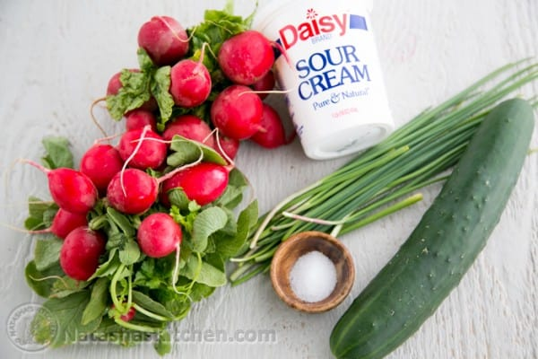 Radish and Cucumber Salad with a simple sour cream dressing. Radishes have a very satisfying crunch and they're so good for you! @NatashasKitchen