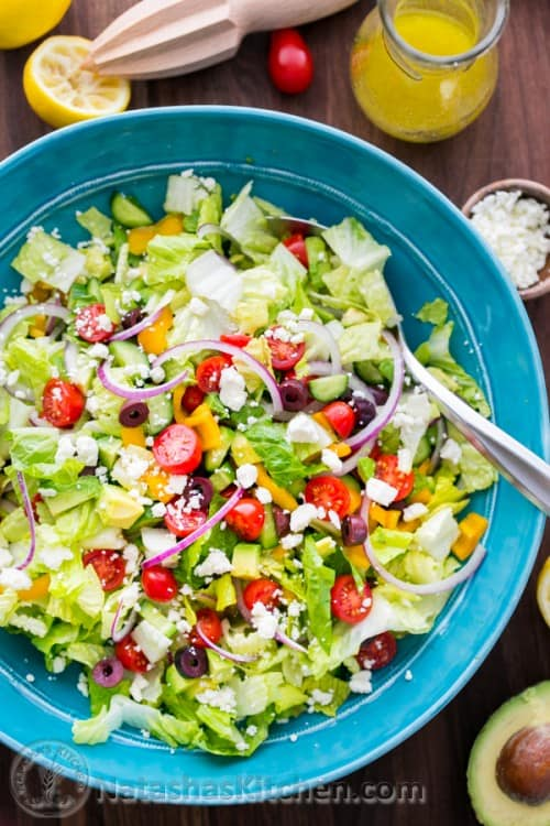 Salad made ahead before adding dressing