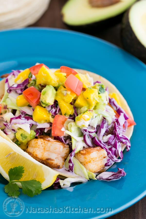 Shrimp Tacos with Coconut Slaw and Mango Salsa
