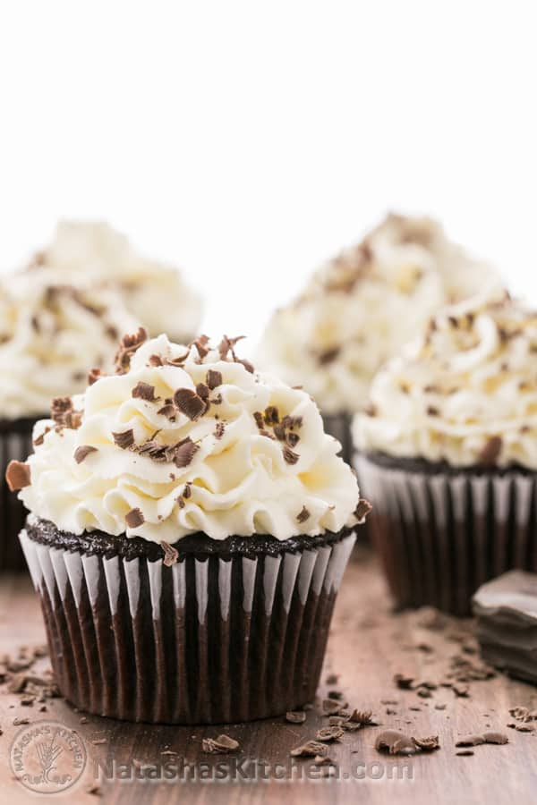 Chocolate Cupcakes with White Chocolate Frosting-5