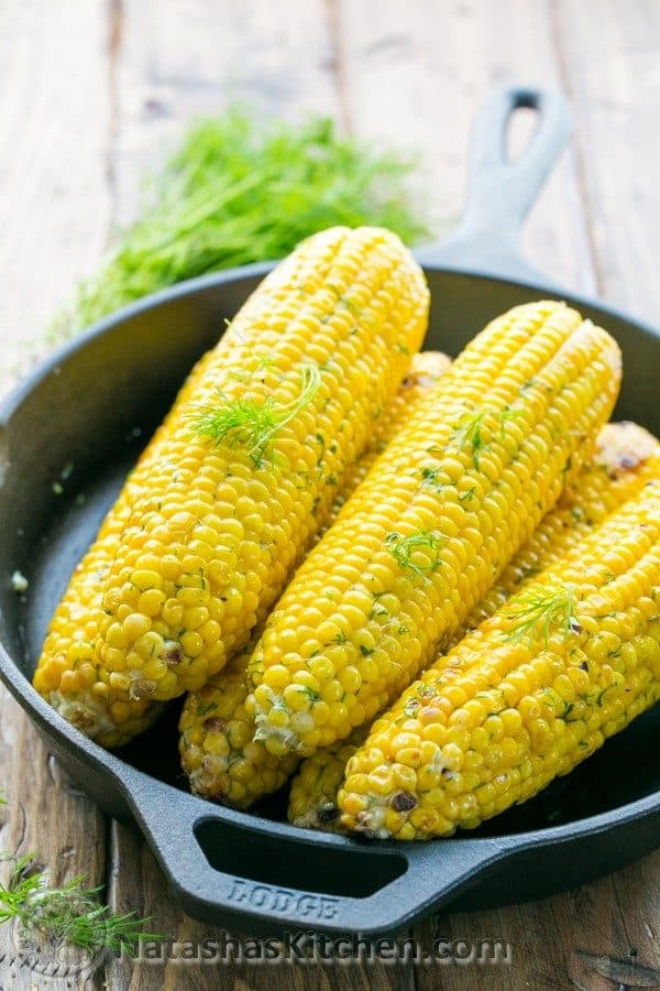 This is an easy way to grill corn on the cob. The prep is minimal and they turn out moist and flavorful. The lemon dill butter is quite a treat.