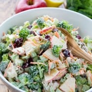 This broccoli salad with apples, walnuts and creamy lemon dressing has been a family favorite for years. All of the flavors work really well together. The best Broccoli Salad! | natashaskitchen.com