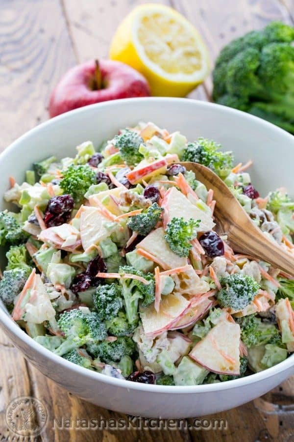 This broccoli apple salad with crisp apples, walnuts and creamy lemon dressing has been a family favorite for years. All of the flavors work really well together. The best Broccoli Salad! | natashaskitchen.com