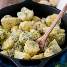New Potatoes in a Garlic Cream Sauce; easy and excellent dish from @natashaskitchen