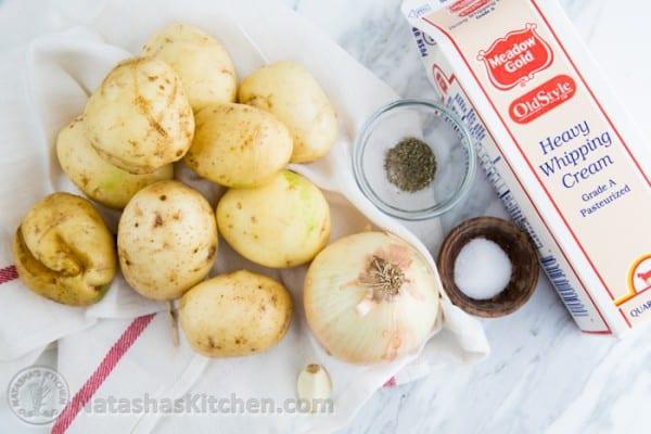 New Potatoes in a Garlic Cream Sauce