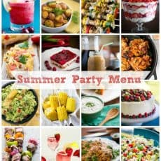 Sixteen photos of food with a label in the middle that says summer party menu