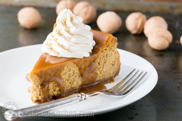 This pumpkin cheesecake recipe is easy and has just the right amount of pumpkin flavor @natashaskitchen