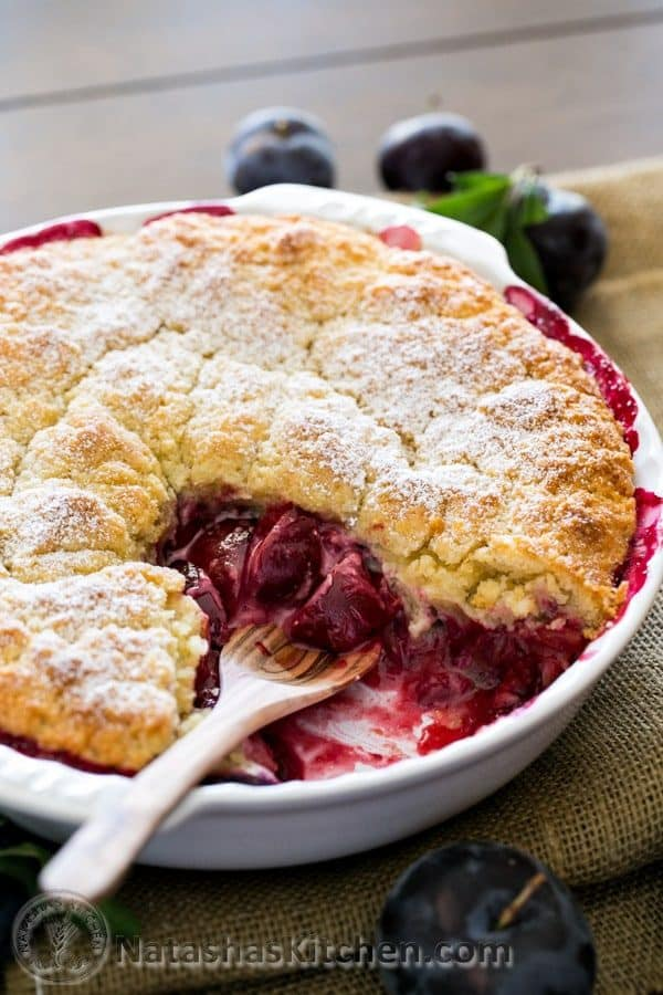 Rustic Plum Biscuit Pie. You'll love the crumbly topping and bubbly filling. Easy, delicious and so homey! @natashaskitchen