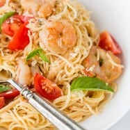 Spaghetti with Shrimp in a creamy tomato sauce. Excellent 30-minute meal! @natashaskitchen
