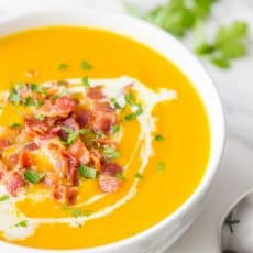 Sweet Potato Soup Recipe - creamy without using any cream! The coconut milk makes it ultra smooth! Comfort in a bowl. Healthy, Easy sweet potato soup recipe @natashaskitchen