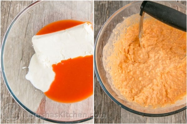 Step by step how to make buffalo chicken dip
