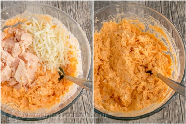 Mixing ingredients to make easy buffalo chicken dip