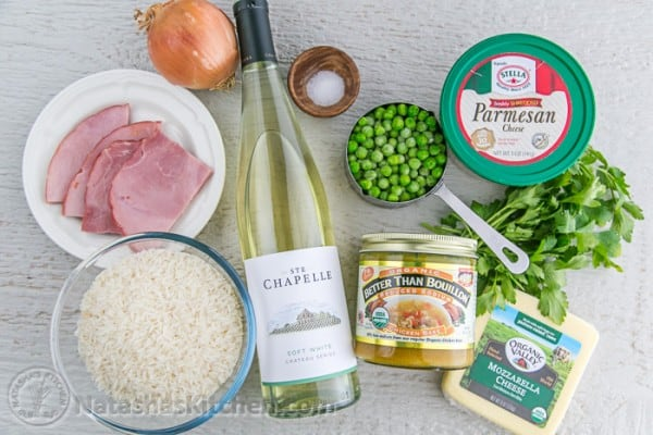 Arancini recipe ingredients with rice, ham, cheese, white wine, peas and parsley