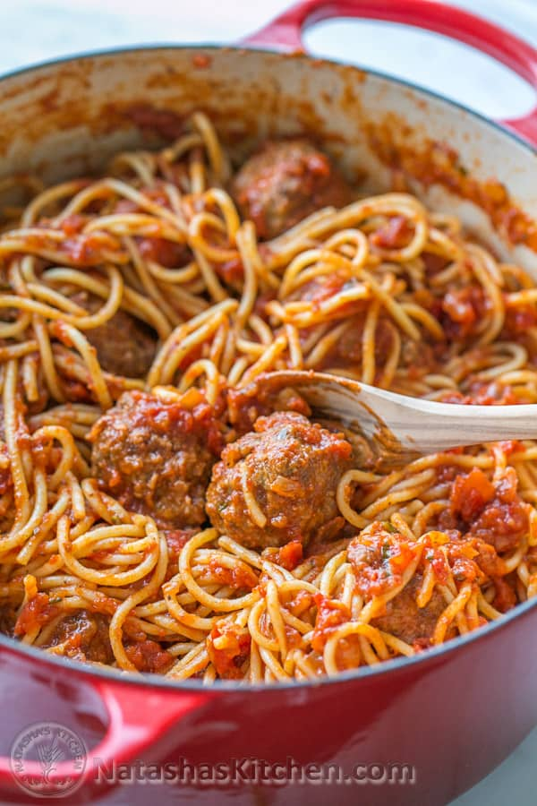Spaghetti and meatballs in a dutch oven pot