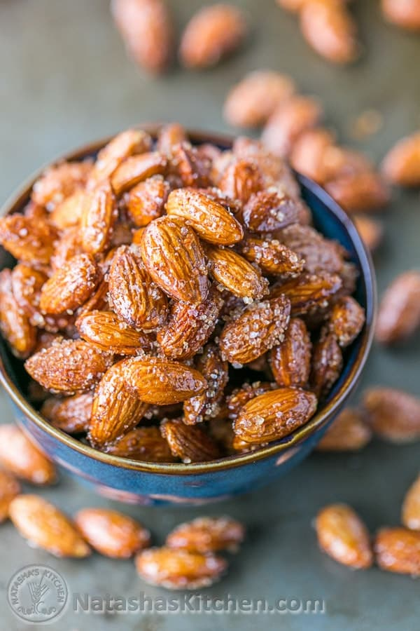 These spicy, roasted almonds with honey and raw sugar are addictive ...