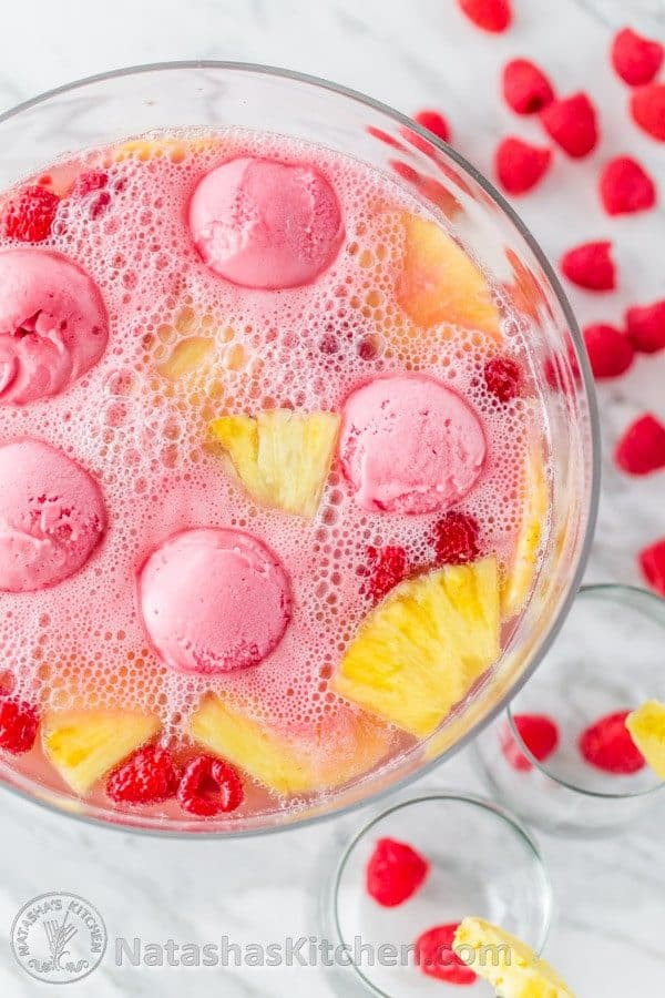 This Sherbet Party Punch Is Perfect For Potlucks, Baby Showers U0026 Valentines  Day! @