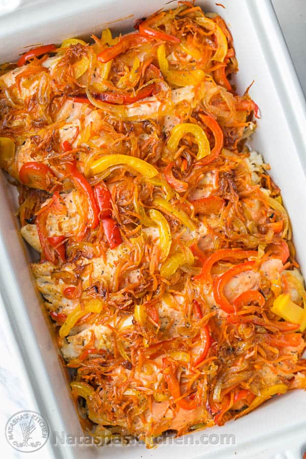 This Baked Tilapia & Veggie Casserole is so Juicy and Flaky. Easy, excellent dish! @natashaskitchen