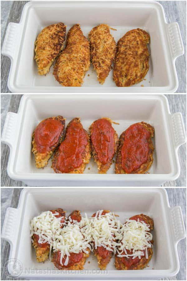 This chicken parmesan recipe is so juicy and easy to make a family